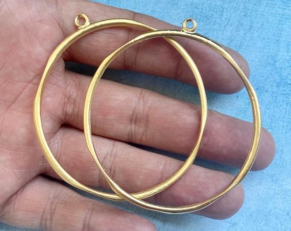 1027 - Matte Gold Plated Earring Parts - Bohemian Brass Earring Findings.