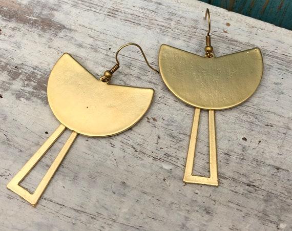 5453 - Brass Boho Art Earrings - Berber jewelry. Brass earring finds.3d printed jewelry. Gold earring finding.Brutalist jewelry
