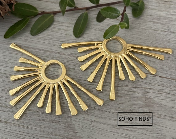 1154 - Matte Gold Plated Earring Parts - Bohemian Brass Earring Findings. 2PCS.