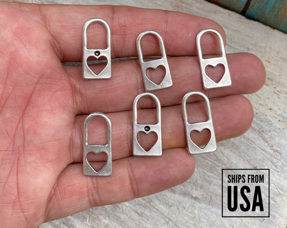 8005 -Heart Charms. Brass Earring  Findings - One set, endless possibilities. Wholesale earring findings for jewelry making parts.-