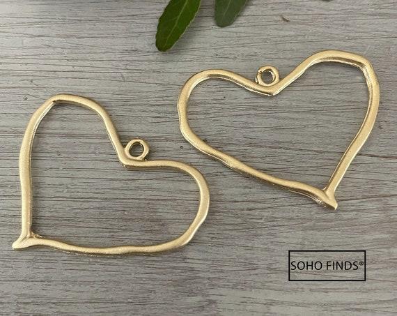 1146 - Matte Gold Plated Earring Parts - Bohemian Brass Earring Findings. 2 PCS.