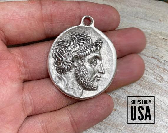 8080 - Bohemian Pendant - Medallion Pendant - Silver Pendants - Mandala Pendant - Boho Pendants - Greek Coins- (8080)