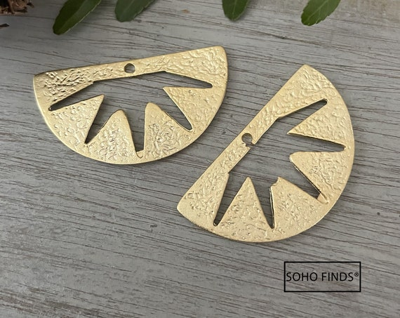 1147 - Matte Gold Plated Earring Parts - Bohemian Brass Earring Findings. 2 PCS