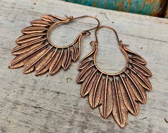 5647 - Rustic brass hoop earrings, patina earrings,hammered earrings,Tassels Earrings,Wholesale earrings,Wholesale jewelry,succulent jewelry