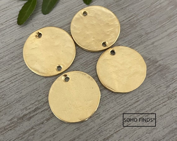 1132- Matte Gold Plated Earring Parts - Bohemian Brass Earring Findings. 4PCS.