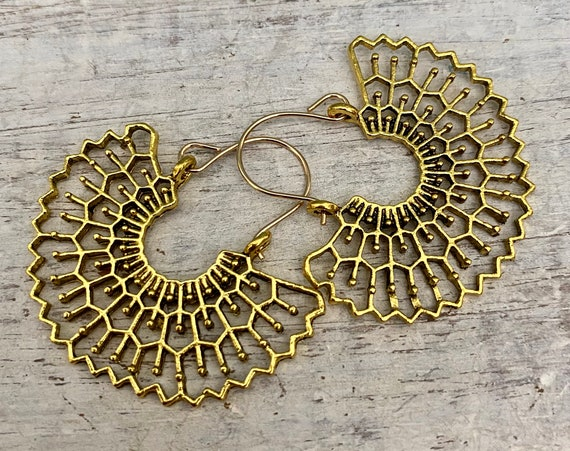5427 - Ethnic drop earrings -  Big Boho Earrings - Brass ethnic earrings -Succulent jewelry - Ethnic Hoop Earrings - Brass ethnic earring