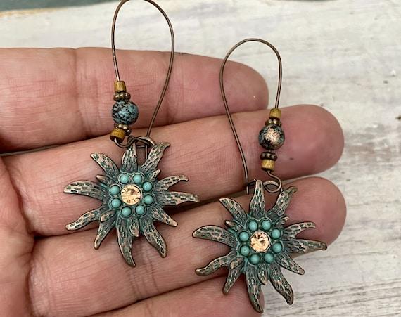 5353 -  Patina Earrings -Bohemian Boho Style, Gypsy, Hippie, Ethnic Earrings - Bohemian Earrings -Boho Earrings