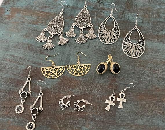 5570 - 6 Pair Earring Set  Bohemian Earrings,Bohemian Jewelry, Earring Svg, 5570
