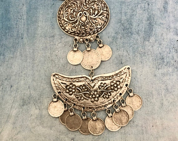 1114 -Bohemian necklace boho necklace coin necklace silver necklace ethnic jewelry tribal jewelry, body jewelry, choker necklace