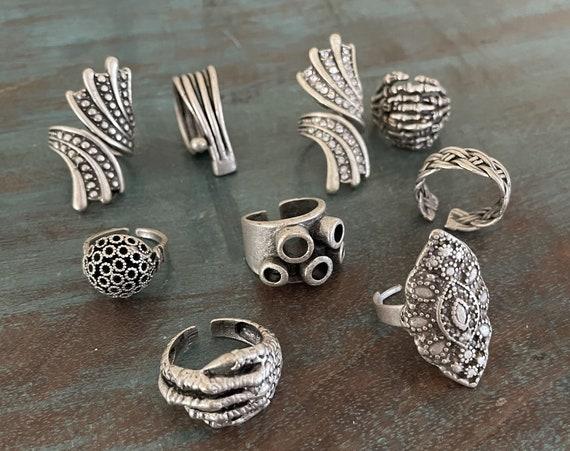 4461 -9 Pcs. Ring Set   Boho Ring, Bohemian Ring , Ethnic, Tribal, Hippie Style - ST2
