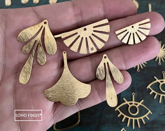 Raw Brass Earring Findings- 88 PCS - One set, endless possibilities. Wholesale earring findings for jewelry making parts. No Plated/Coated