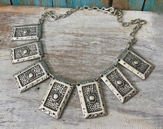 S1130 - Bohemian necklace boho necklace coin necklace silver necklace ethnic jewelry tribal jewelry, body jewelry, choker necklace