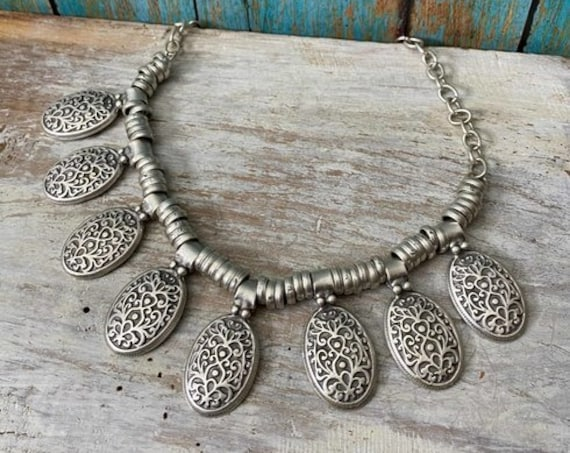 1139 - Bohemian necklace boho necklace coin necklace silver necklace ethnic jewelry tribal jewelry, body jewelry, choker necklace