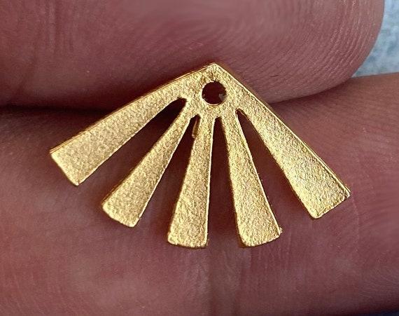 1082 - 6 Pcs. Matte Gold Plated Earring Parts - Bohemian Brass Earring Findings.