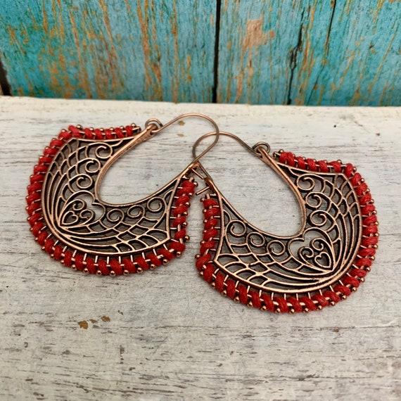 5632 - Rustic brass hoop earrings, patina earrings,hammered earrings,Tassels Earrings,Wholesale earrings,Wholesale jewelry,succulent jewelry