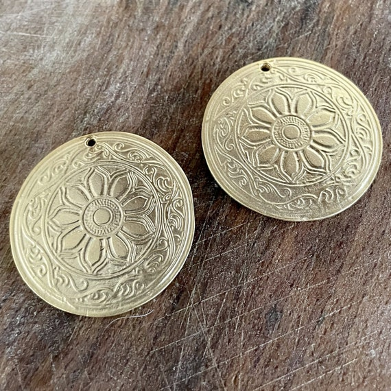 1129 - Matte Gold Plated Earring Parts - Bohemian Brass Earring Findings. 2PCS.