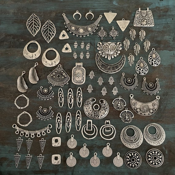 75 PCS - Antique Silver Plated Brass Earring Findings- One set, endless possibilities. Wholesale earring findings for jewelry making parts.