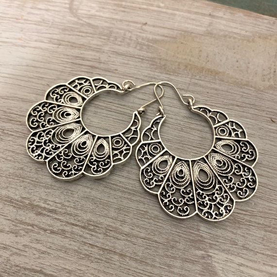 5409-Tibetan Boho Retro Flower Mandala Silver Earrings Gypsy Vintage Hippie Ethnic Tribal Bohemian