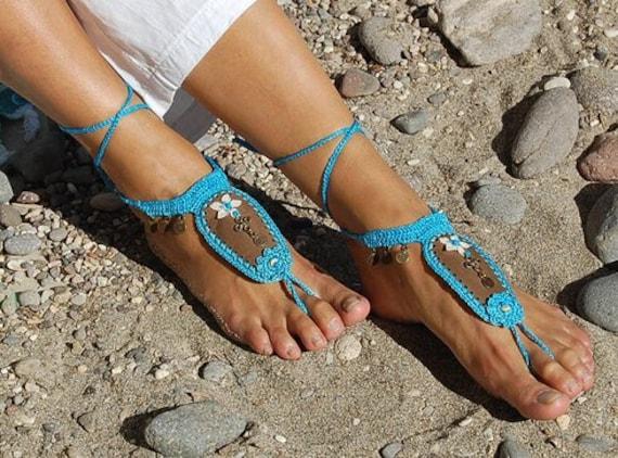 6006 - Bella Hand Crocheted Barefoot Sandals