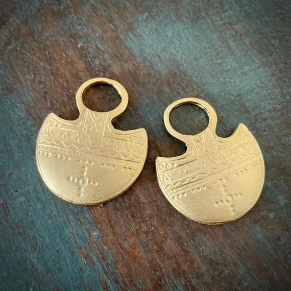 1053 - Matte Gold Plated Earring Parts - Bohemian Brass Earring Findings. 2PCS.