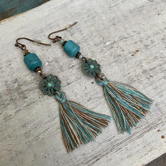 5640 - Bohemian, Boho Style, Gypsy, Hippie, Ethnic Earrings - Bohemian Earrings -Boho Earrings