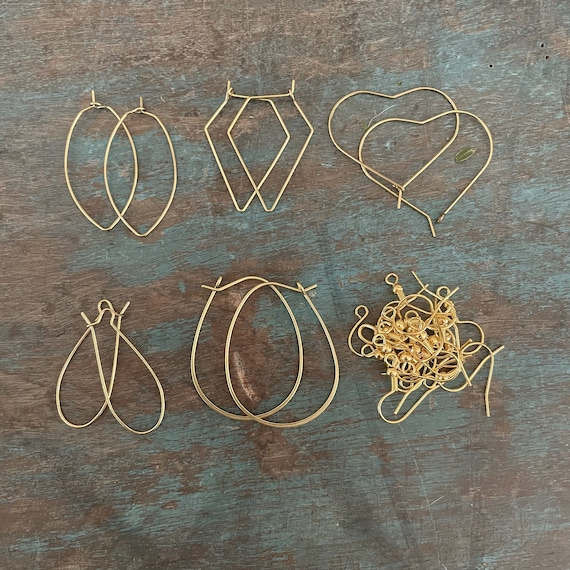 1090- 6 Set-  Raw brass Earrings hooks Brass earring findings