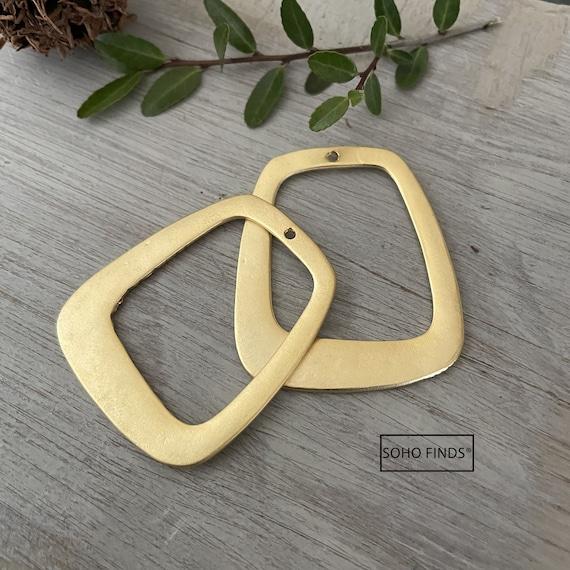 1022- Matte Gold Plated Earring Parts - Bohemian Brass Earring Findings. 2PCS.