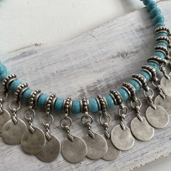 1072 - Bohemian necklace boho necklace coin necklace silver necklace ethnic jewelry tribal jewelry, body jewelry, choker necklace