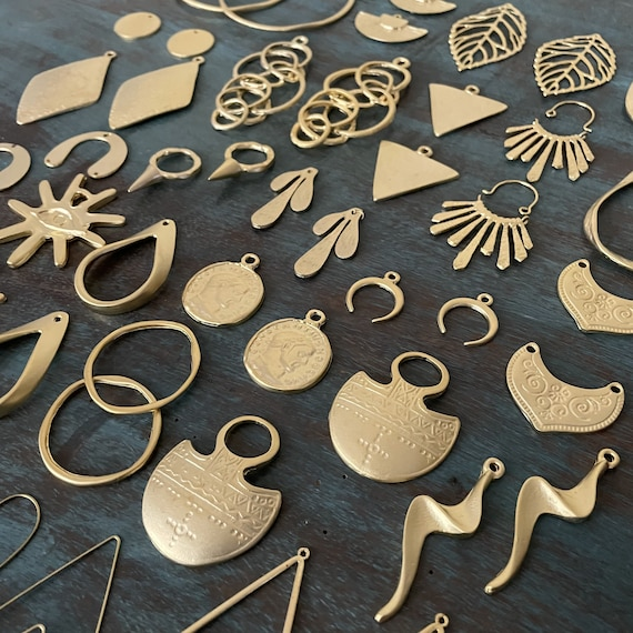 60 PCS. Gold Coated -  One set, endless possibilities. Wholesale earring findings for jewelry making parts. Brass Earring Findings