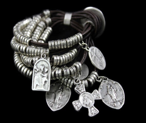 2055 - Antique Silver Plated  Bohemian Bracelet Findings, Bracelet for women