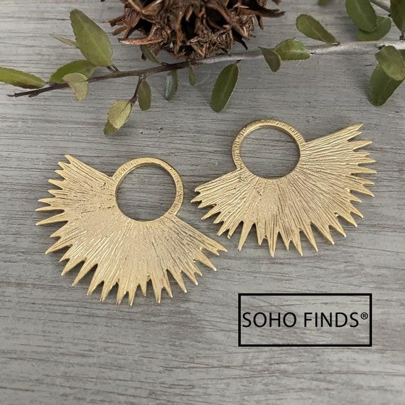 1049 - Matte Gold Plated Earring Parts - Bohemian Brass Earring Findings. 2 PCS.
