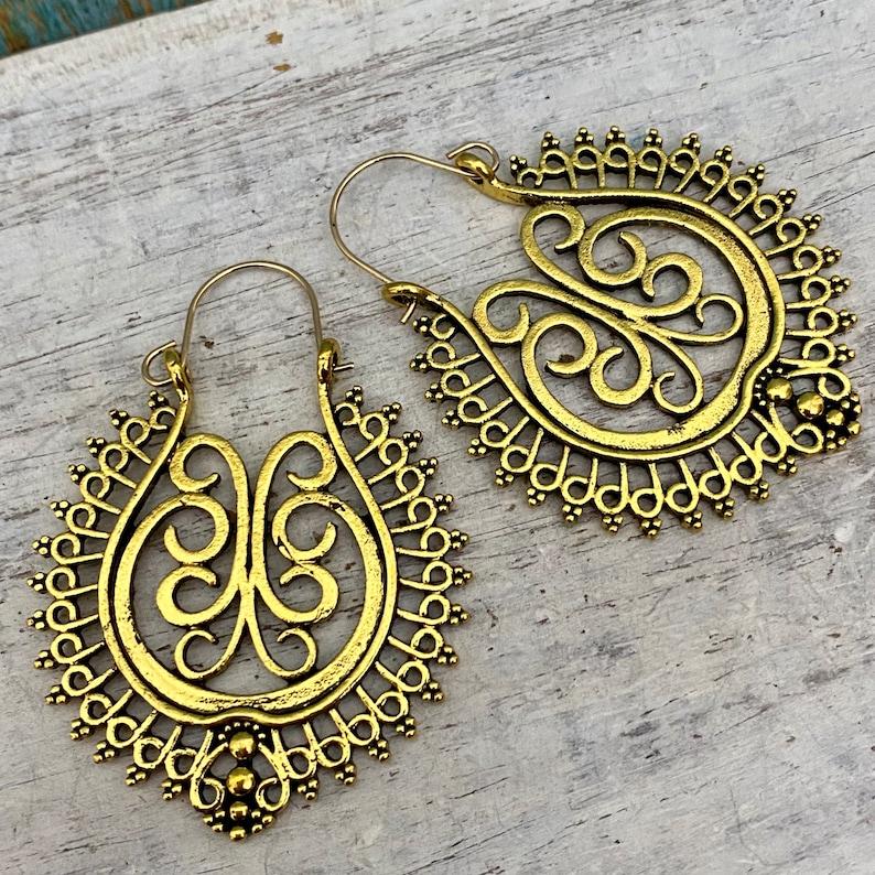 hammered earrings bohemian hoops berber jewelry gypsy hoops patina earrings Rustic brass hoop earrings 5005 gift for her