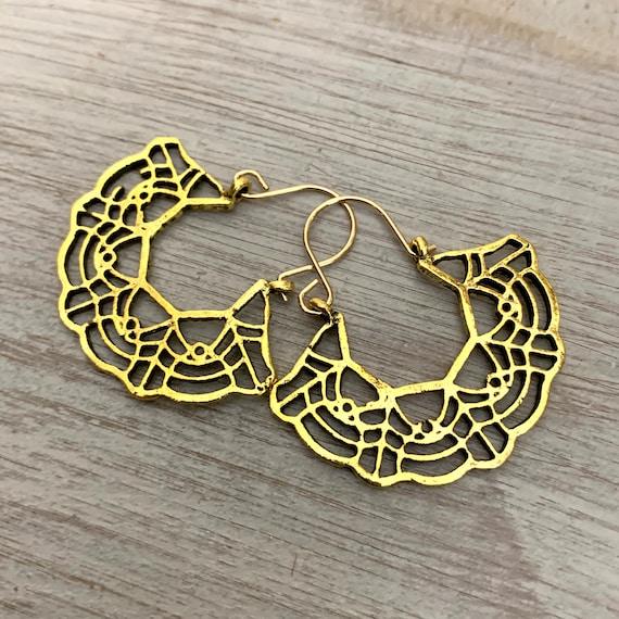 5447-Ethnic hoop earrings,Afrocentric earrings,big boho earrings,raw brass earrings,bold silver earrings,wanderlust jewelry