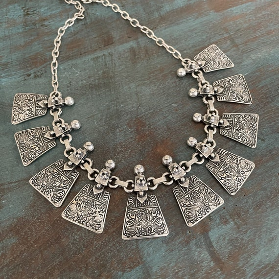 1042 - Bohemian necklace boho necklace coin necklace silver necklace ethnic jewelry tribal jewelry, body jewelry, choker necklace