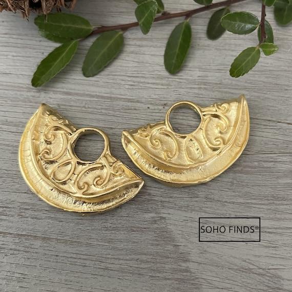 1019- Matte Gold Plated Earring Parts - Bohemian Brass Earring Findings. 2PCS.