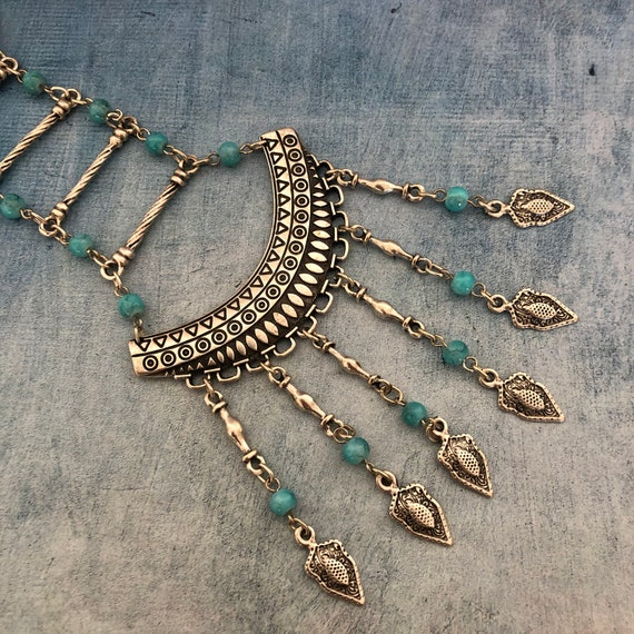 1119 - Bohemian necklace boho necklace coin necklace silver necklace ethnic jewelry tribal jewelry, body jewelry, choker necklace