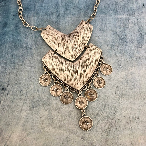 1066 - Bohemian necklace boho necklace coin necklace silver necklace ethnic jewelry tribal jewelry, body jewelry, choker necklace