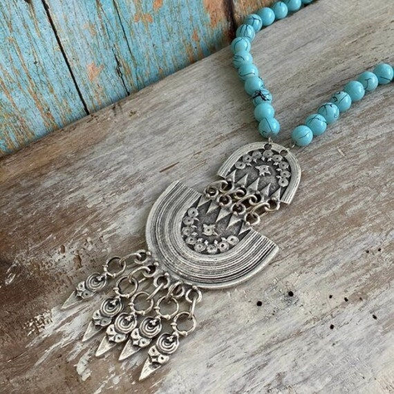 1075 - Bohemian necklace boho necklace coin necklace silver necklace ethnic jewelry tribal jewelry, body jewelry, choker necklace
