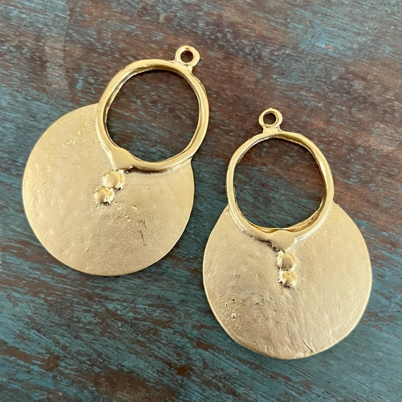 1126 - Matte Gold Plated Earring Parts - Bohemian Brass Earring Findings. 2PCS.