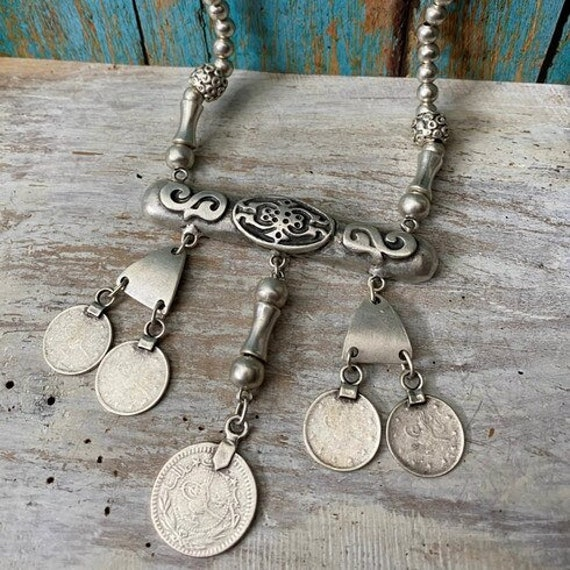 1073 - Bohemian necklace boho necklace coin necklace silver necklace ethnic jewelry tribal jewelry, body jewelry, choker necklace