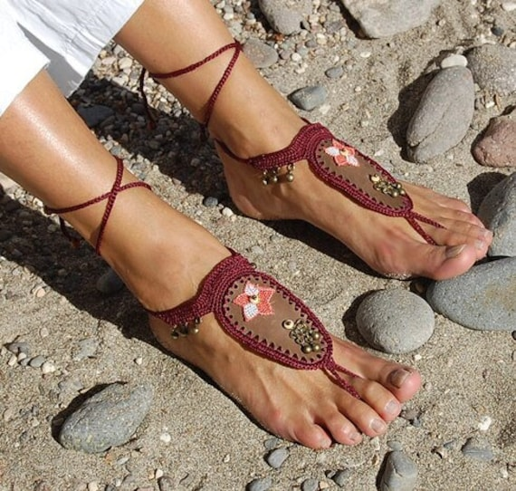 6004 - Curry Hand Crocheted Barefoot Sandals