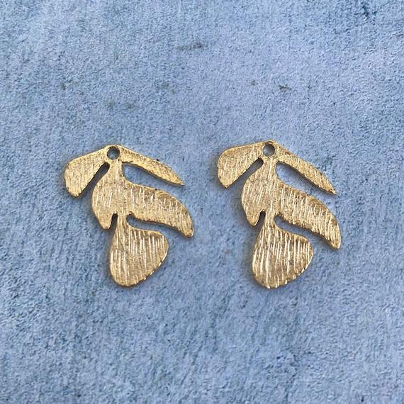 1130 - Matte Gold Plated Earring Parts - Bohemian Brass Earring Findings. 2 PCS.