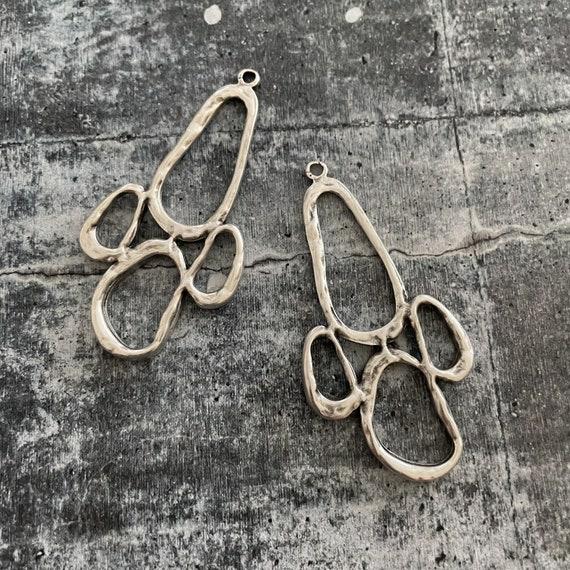 Harvest Charm 2 Pcs.  Antique Silver Plated Bohemian Earring Findings-Tribal Earrings - Gypsy Earrings- 7031