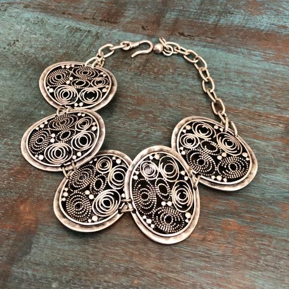 2036 - Antique Silver Plated  Bohemian Bracelet Findings