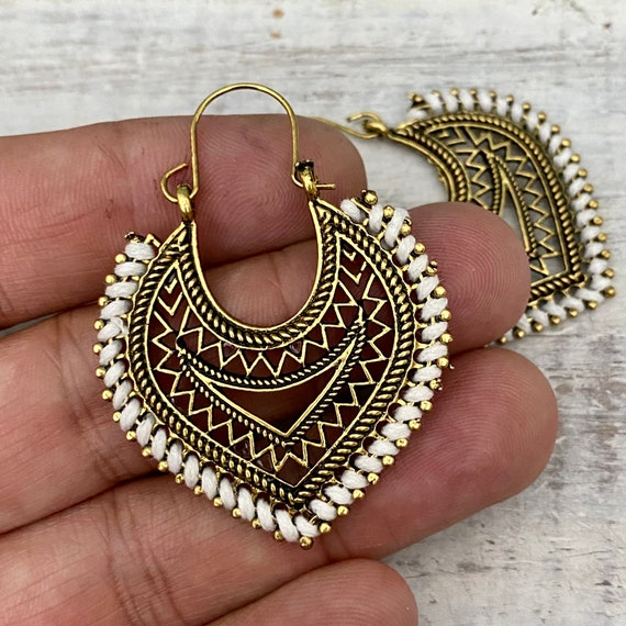 5601 -Tribal Earrings | Antique Silver Plated Boho Chic Earrings -Boho Gipsy Earrings - Ethnic African Earrings - Boho Chic Jewelry
