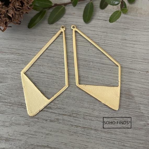 1137 - Matte Gold Plated Earring Parts - Bohemian Brass Earring Findings. 2 PCS.