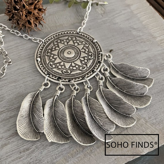 1123 - Bohemian necklace boho necklace coin necklace silver necklace ethnic jewelry tribal jewelry, body jewelry, choker necklace