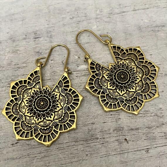 5318 - Ethnic drop earrings -  Big Boho Earrings - Brass ethnic earrings -Succulent jewelry - Ethnic Hoop Earrings - Brass ethnic earring