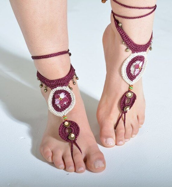 6008 - Tierra Hand Crocheted Barefoot Sandals