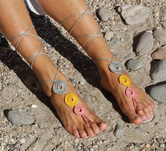 6012 - Sulpher Hand Crocheted Barefoot Sandals